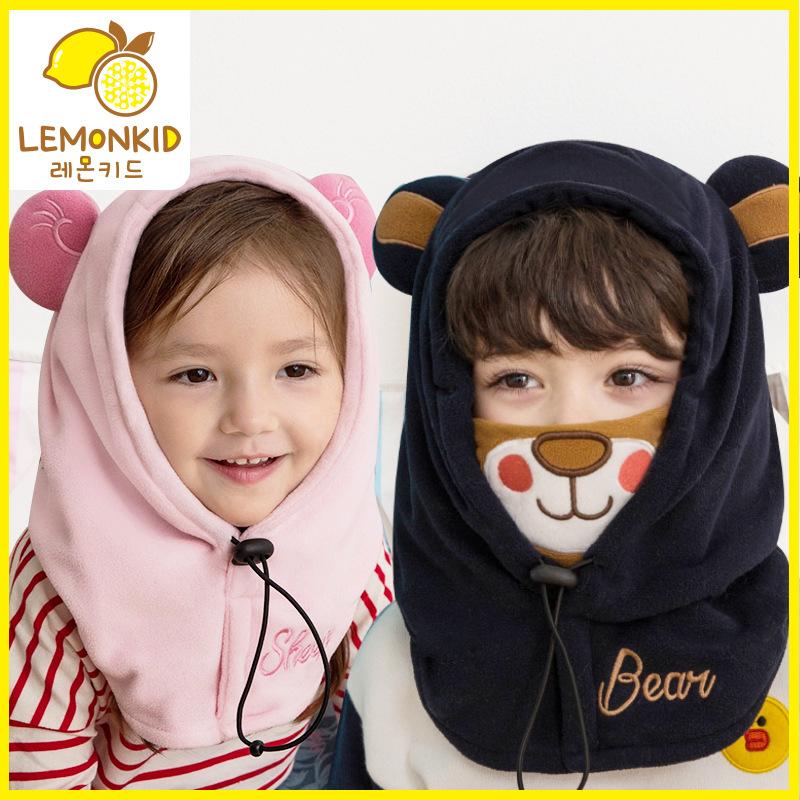 现货韩国新款儿童帽子冬天护耳帽宝宝帽子冬款护颈套头连帽